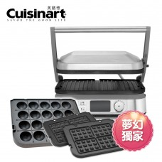 Cuisinart  液晶溫控多功能煎烤盤 與兩種烤盤超值組合GR-5NTW + GR-TKYP + GR-WAFP-TW